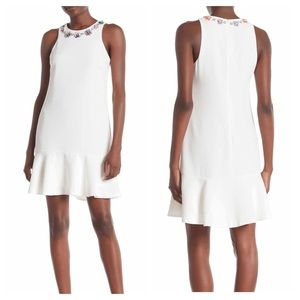 Trina Turk Fizz Dress White Ruffle Beaded Neckline